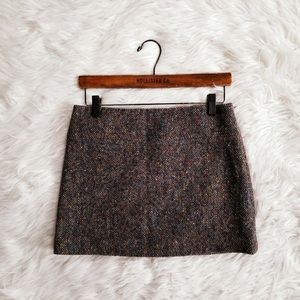 Theory mini wool multicolor tweed skirt size 0
